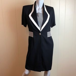 Vintage 80s/90s Black White Structured Coat Dress